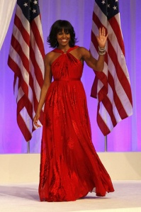 First Lady Michelle Obama wears Jason Wu to the Inaugural Ball. (Photo credit Reuters/Rick Wilking)